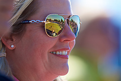 LIVERPOOL, ENGLAND - Friday, June 22, 2018: Centre court is reflected in the sunglasses of a spectator during day two of the Williams BMW Liverpool International Tennis Tournament 2018 at Aigburth Cricket Club. (Pic by Paul Greenwood/Propaganda)