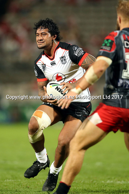 James Gavet takes on Jack de Belin<br /> Dragons v Warriors NRL rugby league match at UOW Jubilee Oval, Kogarah Australia. Sunday 26 March 2017. Photo: Paul Seiser / www.photosport.nz