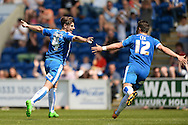 Joe Edwards of Colchester United (left) celebrates scoring his sides first goal to make the scoreline 1-1 during the Sky Bet League 1 match between Colchester United and Rochdale at the Weston Homes Community Stadium, Colchester<br /> Picture by Richard Blaxall/Focus Images Ltd +44 7853 364624<br /> 08/05/2016