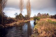 River Deben landscape , Ufford with rain  clouds, Suffolk, England