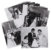 "John and Jacqueline Kennedy unpublished Wedding Photos up for sale<br /> <br /> A collection of 13 original and most likely unpublished negatives from the wedding of John F. and Jacqueline Kennedy will be auctioned by Boston, MA based RR Auction in October.<br /> <br /> ""The images were taken by a freelance photographer, Arthur Burges, of Fall River, MA who had been asked to be a 'back-up' photographer for the wedding,"" says Bobby Livingston, Exec VP at RR Auction. ""They were discovered by family members in his darkroom after his passing in 1993."" <br /> <br /> John and Jacqueline Kennedy were married on September 12, 1953, at St. Mary's Church in Newport, Rhode Island. The wedding was considered the social event of the season with an estimated 700 guests at the ceremony and 1,200 at the reception that would follow. The entire event was chronicled by Life magazine, which noted 'their wedding turned out to be the most impressive the old society stronghold had seen in 30 years.'<br /> <br /> Each negative measures 3.75 x 5, four feature the newlywed couple, two show the entire wedding party, and the remainder show the cake, reception, and wedding attendees.<br /> <br /> Negatives are housed in their original folder, labeled at a later date, ""Pres. Kennedy 1953."" Accompanied by 5 x 4 printouts of each negative, the very first prints that have been made from these negatives.<br /> ©RR Auction/Exclusivepix"