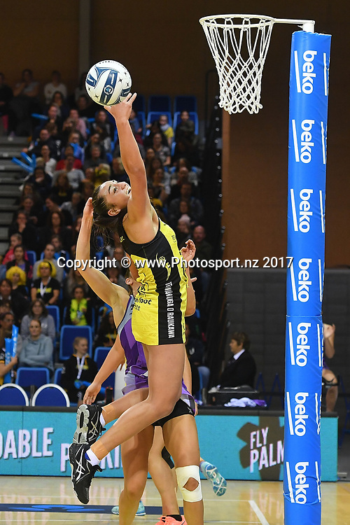 Pulse's Tiana Metuarau takes a pass during the ANZ Premiership netball match between the Pulse and Northern Stars at the Te Rauparaha Arena on Wednesday the 14th of June 2017. Copyright Photo by Marty Melville / www.Photosport.nz