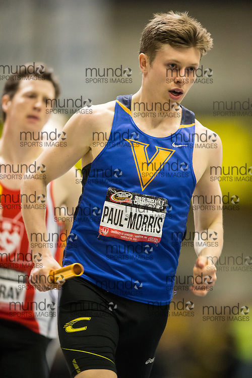 Windsor, Ontario ---2015-03-14---  Adam Paul-Morris of University of Victoria  competes in the 4x400m relay at the 2015 CIS Track and Field Championships in Windsor, Ontario, March 14, 2015.<br /> GEOFF ROBINS/ Mundo Sport Images