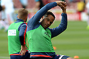 West Bromwich Albion defender Joleon Lescott warms up ahead of the Barclays Premier League match between Stoke City and West Bromwich Albion at the Britannia Stadium, Stoke-on-Trent, England on 29 August 2015. Photo by Aaron Lupton.