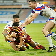 Ukuma Ta'ai of Huddersfield Giants dives over to score a try against Wakefield Trinity during the Ladbrokes Challenge Cup match at the John Smiths Stadium, Huddersfield<br /> Picture by Stephen Gaunt/Focus Images Ltd +447904 833202<br /> 11/05/2018