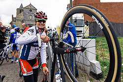 Joëlle Numainville navigates through the crowds to the start line - Pajot Hills Classic 2016, a 122km road race starting and finishing in Gooik, on March 30th, 2016 in Vlaams Brabant, Belgium.