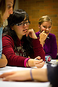 Cynthia Amezcua '14 discusses important campus equality issues with other students during Thursday night's Student Statement of Values group in the JRC.