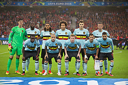 LILLE, FRANCE - Friday, July 1, 2016: The Belgium team pose for a pre-game photograph ahead of the UEFA Euro 2016 Championship Quarter-Final match against Belgium at the Stade Pierre Mauroy. Back Row LtR: Belgium goalkeeper Thibaut Courtois, Romelu Lukaku, Jason Denayer, Axel Witsel, Thomas Meunier, Toby Alderweireld, Front Row LtR: Jordan Lukaku, Radja Nainggolan, Kevin De Bruyne, Eden Hazard, Yannick Ferreira Carrasco. (Pic by Paul Greenwood/Propaganda)