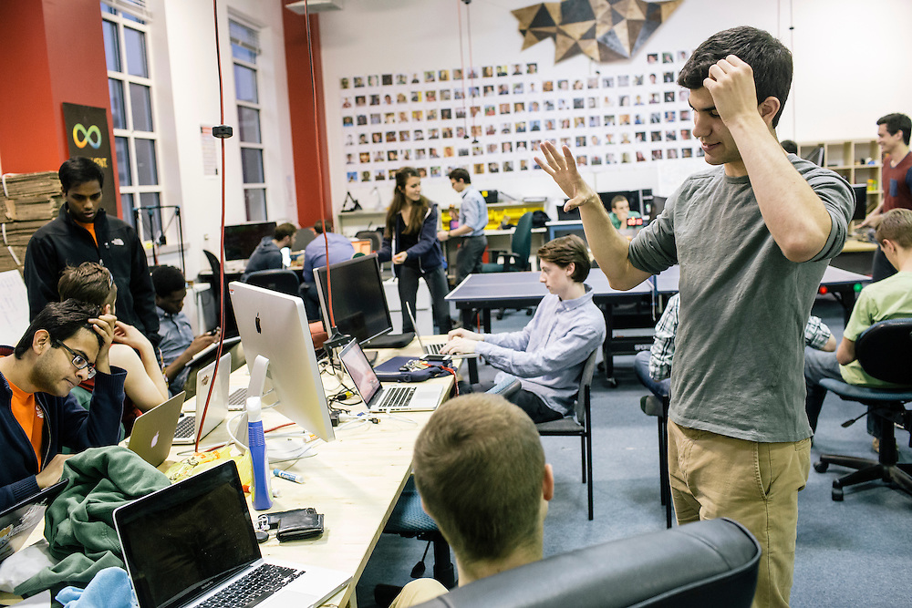 Members of Startup Shell, including senior Nick Aversano, right, work on various projects at the Startup Shell headquarters on the University of Maryland campus on April 1, 2015. Startup Shell is a not for profit company run entirely by and for students at UMD. Entrepreneurial students from all different disciplines apply to join and if accepted, can work on their innovative project with others collaborating and teaching one another.