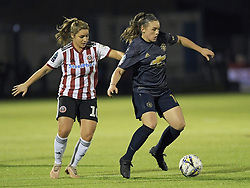February 20, 2019 - Sheffield, United Kingdom - Kirsty Hanson (Manchester United) holds off a challenge from Alethea Paul (Sheffield United) during the  FA Women's Championship football match between Sheffield United Women and Manchester United Women at the Olympic Legacy Stadium, on February 20th Sheffield, England. (Credit Image: © Action Foto Sport/NurPhoto via ZUMA Press)