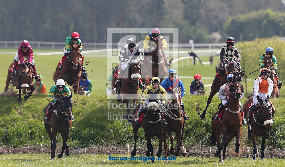 Runner and Riders jump 'Ruby's Double' for the first time during the Kildare Hunt Club Fr.Sean Breen Memorial Steeplechase at Punchestown Festival at Punchestown Racecourse, Co.Kildare<br /> Picture by Lorraine O'Sullivan/Focus Images Ltd +353 872341584<br /> 29/04/2014
