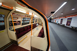 Glasgow, Scotland, UK. 1 April, 2020. Effects of Coronavirus lockdown on Glasgow life, Scotland. Empty platform on the Glasgow Subway.