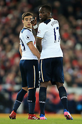 11th February 2017 - Premier League - Liverpool v Tottenham Hotspur - Harry Winks of Spurs (L)and teammate Moussa Sissoko of Spurs form a defensive wall - Photo: Simon Stacpoole / Offside.