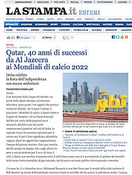 Tearsheet from La Stampa, Italy; Doha skyline