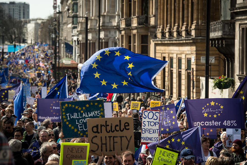 The march for Europe walks on Piccadilly