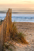 Sand fence and beach at sunrise in Kitty Hawk NC on the Outer Banks.