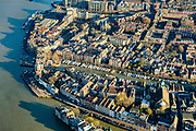 Nederland, Zuid-Holland, Dordrecht, 07-02-2018; historische binnenstad met Oude Maas, Wolwevershaven, Wijnhaven, Groothoofd<br /> Inner city Dordrecht w old harbours.<br /> luchtfoto (toeslag op standard tarieven);<br /> aerial photo (additional fee required);<br /> copyright foto/photo Siebe Swart