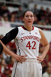 February 24, 2011; Stanford, CA, USA;  Stanford Cardinal forward/center Sarah Boothe (42) before a free throw against the Oregon State Beavers during the first half at Maples Pavilion.  Stanford defeated Oregon State 73-37.