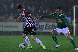 David Parkhouse, Derry City with Sean McLoughlin, Cork City.<br /> <br /> Cork City v Derry City / SSE Airtricity Premier Division / 1.3.19 /  Turner's Cross, Cork / <br /> <br /> Copyright Steve Alfred/photos.extratime.ie/pitchsidephoto.com 2019