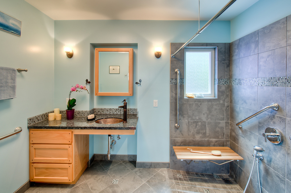 Residential bath remodel witn universal design features