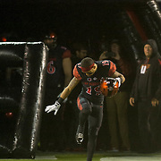 26 November 2016: The San Diego State Aztecs football team closes out the season at home against Colorado State.  San Diego State running back Donnel Pumphrey (19) takes the field on senior night. The Aztecs trail the Rams 42-24 at halftime. www.sdsuaztecphotos.com
