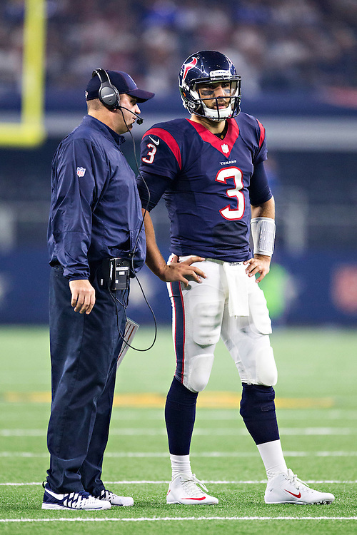 ARLINGTON, TX - SEPTEMBER 3:  Head Coach Bill O'Brien talks with Tom Savage #3 of the Houston Texans during a preseason game against the Dallas Cowboys at AT&T Stadium on September 3, 2015 in Arlington, Texas.  The Cowboys defeated the Texans 21-14.  (Photo by Wesley Hitt/Getty Images) *** Local Caption *** Tom Savage; Bill O'Brien