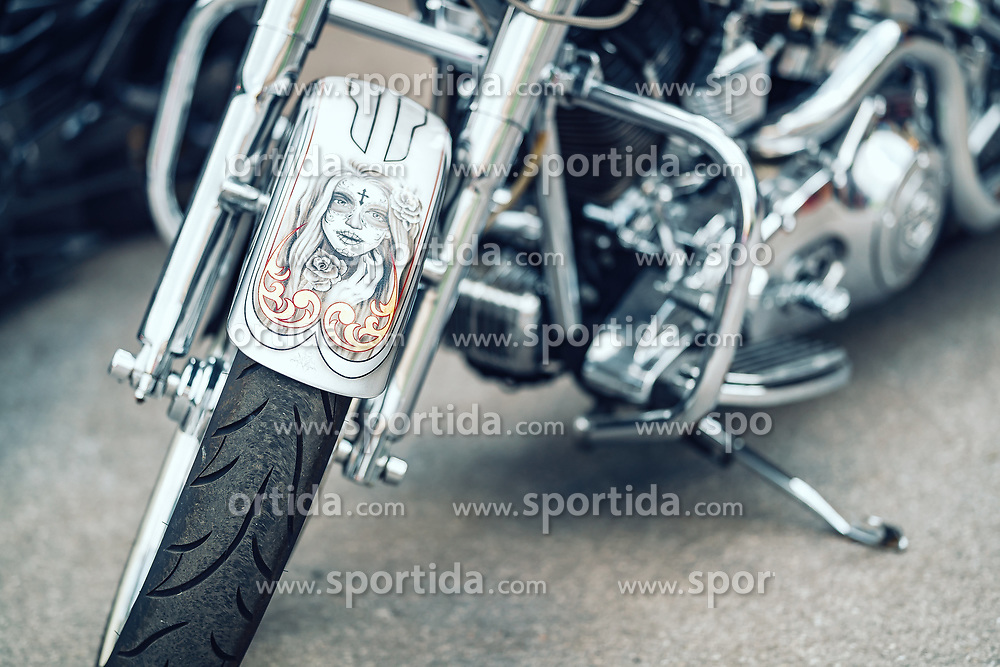 27.06.2019, Schladming, AUT, Rock the Roof 2019, im Bild Harley Davidson Motorrad Detail // Harley Davidson Motorcycle Detail during the Rock the Roof Biker Meeting in Schladming, Austria on 2019/06/27. EXPA Pictures © 2019, PhotoCredit: EXPA/ JFK