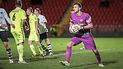 Max Crocombe (Southport), Southport's goalkeeper collects the ball comfortably during the Vanarama National League match between Gateshead and Southport at Gateshead International Stadium, Gateshead, United Kingdom on 8 December 2015. Photo by Mark P Doherty.