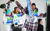 VANCOUVER OLYMPIC GAMES 2010 - VANCOUVER (CAN) - 17/02/2010 - PHOTO : VINCENT CURUTCHET / DPPI<br /> SNOWBOARD / HALF-PIPE MEN - PEETRU PIIROINEN (FIN) / SILVER - SHAUN WHITE (USA) / WINNER AND LAGO SCOTT (USA) / BRONZE