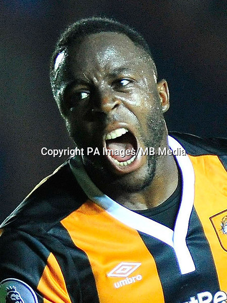 Hull City's Adama Diomande celebrates his goal to make it 2-1 during the EFL Cup, Second Round match at St James Park, Exeter.