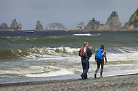 Hikers, Rialto Beach, Olympic National Park