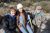 Three people on hiking trip, portrait