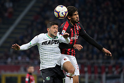 March 2, 2019 - Milan, Milan, Italy - Lucas Paqueta' #39 of AC Milan competes for the ball with Stefano Sensi #12 of US Sassuolo during the serie A match between AC Milan and US Sassuolo at Stadio Giuseppe Meazza on March 02, 2019 in Milan, Italy. (Credit Image: © Giuseppe Cottini/NurPhoto via ZUMA Press)