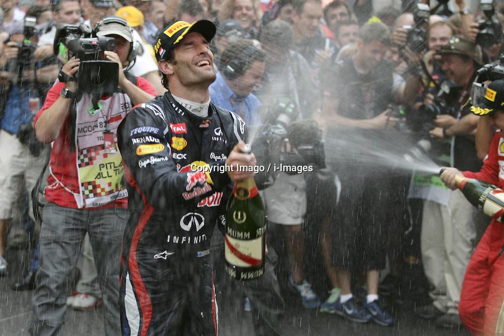 Mark Webber celebrates winning   Monaco Grand Prix, Sunday, 27th May 2012.   Photo by: Imago / i-Images