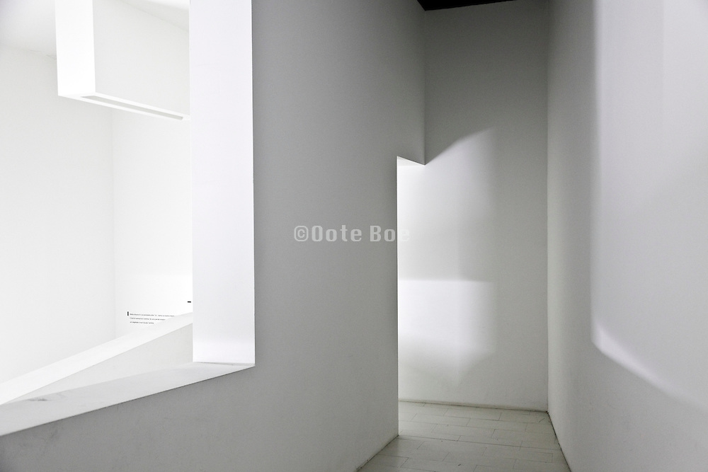 corridor in an empty white space