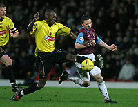 Photographer. Danny Martindale<br />Watford vWest Ham.Nationwide Division 1. 22/11/2003.<br />Marcus Gayle (Watford) and David Connolly in action
