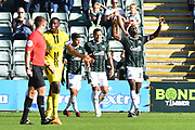 Goal - Freddie Ladapo (19) of Plymouth Argyle celebrates scoring a goal to make the score 2-1 during the EFL Sky Bet League 1 match between Plymouth Argyle and Burton Albion at Home Park, Plymouth, England on 20 October 2018.