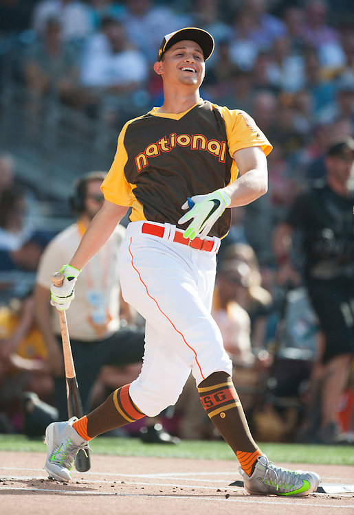 The Dodgers' Corey Seager smiles after a swing during the 2016 Home Run Derby at Petco Park in San Diego on Monday.<br /> <br /> ///ADDITIONAL INFO:   <br /> <br /> derby.0712.kjs  ---  Photo by KEVIN SULLIVAN / Orange County Register  -- 7/11/16<br /> <br /> The 206 MLB All-Star Game at Petco Park in San Diego. <br /> <br /> Villa Park native and former Angel Mark Trumbo competes in the Home-run Derby.