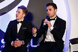Connor Hall and Dino Zamparelli of Bristol Sport Racing are interviewed on stage by Lisa Knights at Bristol Sport's Annual Gala Dinner at Ashton Gate Stadium - Mandatory byline: Rogan Thomson/JMP - 08/12/2015 - SPORT - Ashton Gate Stadium - Bristol, England.