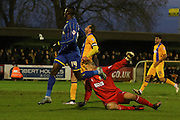 Ade Azeez of AFC Wimbledon makes it 3-1 during the Sky Bet League 2 match between AFC Wimbledon and Mansfield Town at the Cherry Red Records Stadium, Kingston, England on 16 January 2016. Photo by Stuart Butcher.