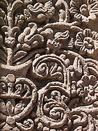 Stone carvings adorn the outside walls of a church in Arequipa, Peru