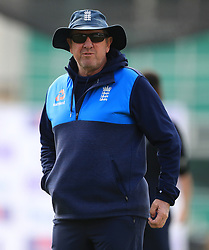 England coach Trevor Bayliss during the nets session at Trent Bridge, Nottingham.