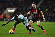 Chelsea Defender, Antonio Rudiger (2) challenged by AFC Bournemouth Midfielder, Dan Gosling (4) during the Premier League match between Bournemouth and Chelsea at the Vitality Stadium, Bournemouth, England on 30 January 2019.