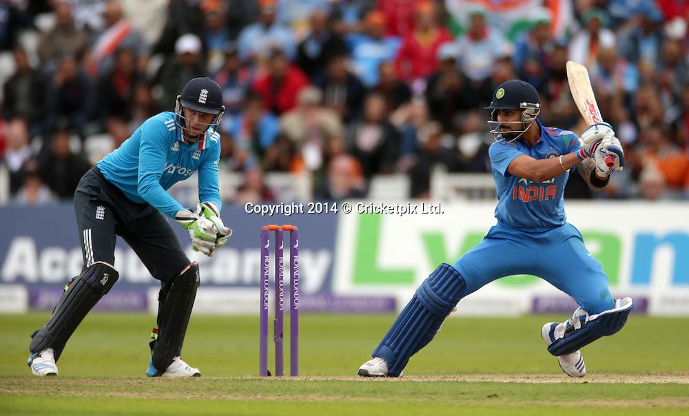 Virat Kohli bats during the third Royal London One Day International between England and India at Trent Bridge, Nottingham. Photo: Graham Morris/www.cricketpix.com (Tel: +44 (0)20 8969 4192; Email: graham@cricketpix.com) 300814