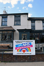 Thank you NHS poster outside William & Florence pub during Coronavirus lockdown, Norwich UK 2020