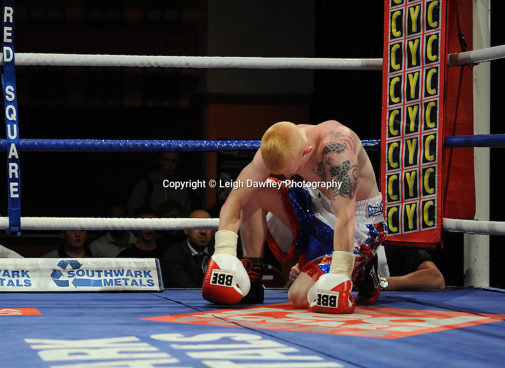 Anthony Smith defeats Kevin Coglan (pictured) in a 4 x 3 min round Flyweight contest at Olympia, Liverpool on the 11th June 2011. Frank Maloney Promotions.Photo credit: Leigh Dawney 2011