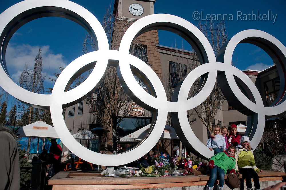 The Olympic Rings in Whistler, BC, glow in the sunshine after a rainy start to the 2010 Olympic Winter Games.