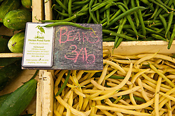 Beans at the heron Pond Farm stand at the farmer's market in Portsmouth, New Hampshire.