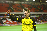 Burton Albion's Martin Samuelsen celebrates the win during the EFL Sky Bet Championship match between Barnsley and Burton Albion at Oakwell, Barnsley, England on 20 February 2018. Picture by John Potts.