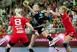 Tine Kristiansen of Larvik vs Gorica Acimovic of Krim during handball match between RK Krim Mercator and Larvik HK (NOR) of Women's EHF Champions League 2011/2012, on November 13, 2011 in Arena Stozice, Ljubljana, Slovenia. (Photo By Vid Ponikvar / Sportida.com)